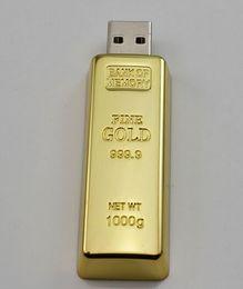 Usb stick man on-line-55 pcs DHL / epacket criativo ouro de metal bullion estilo para o homem vara USB 64 GB 128 GB 256 GB USB 2.0 Flash drive USB varas pendrives