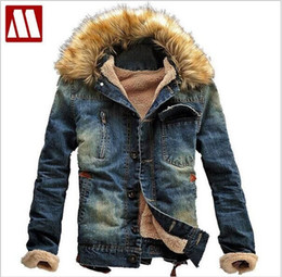 Wholesale Denim Wool - New Winter Men Clothing Jeans Coat Men Outwear With Fur Collar Wool Denim Jacket Thick Clothes FREE SHIPPING