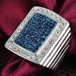 Wholesale Blue Danube - Blue Danube Men's Women's 18K White Gold Filled Big Blue Rhinestone Clear CZ Band Ring