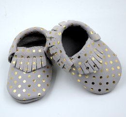 Wholesale Infant Shoes Gold - retail baby suede leather with gold dot fringe moccasins infant boy girl cute gold Polka dot fringe shoes 5size totally