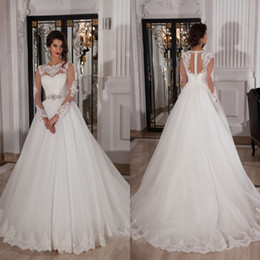 Wholesale Russia Dress - Russia Lace Wedding Dresses Sexy Long Sleeve Court Train Ivory Robe De Mariage Sheer Neck Naviblue Beading Sash Bridal Gowns