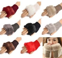 Wholesale Glove Fur Woman - Women Girl Knitted Faux Rabbit Fur gloves Mittens Winter Arm Length Warmer outdoor Fingerless Gloves colorful XMAS gifts DHL free 200pcs