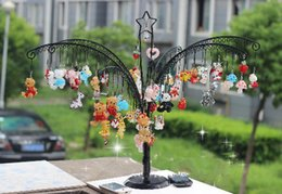 Wholesale Metal Display Tree Wholesale - Christmas tree Jewelry Display Stand Rack Holder with 256 Holes tree shape Metal Stand for Earrings cell jewelry crystal accessories