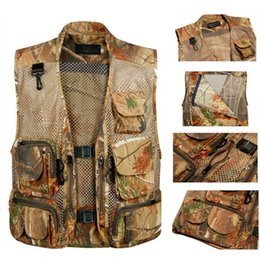 Wholesale men outdoor hunting jacket - Fall-M-3XLWaterpoor Outdoor Men Casual Camouflage Vests Jungle Bionic Mesh Breathable Vest for Hunting ShootingSleevless Jackets