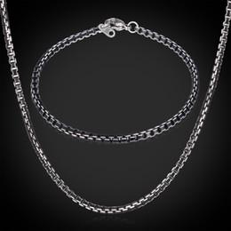Wholesale Aluminium Gift Boxes - New Items Cute Black Box Chains Aluminium Alloy Necklace Bracelet Sets Jewelry For Men \ Women 3MM 55CM 22''