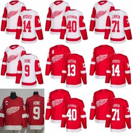 Wholesale Pavel Datsyuk Hockey Jersey - 2018 Detroit Red Wings 40 Henrik Zetterberg Jersey 14 Gustav Nyquist 71 Dylan Larkin 13 Pavel Datsyuk Ice Jerseys 9 Gordie Howe Red White