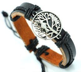 Wholesale Indian Lucky - Fashion The tree of life and birds Leather Bracelets hemp braided alloy hande bracelet lucky Jewelry