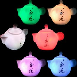 Wholesale Teapot Night Lights - Wholesale-Teapot Color Changing LED Xmas Mood Party Decoration Night Lamp Light New