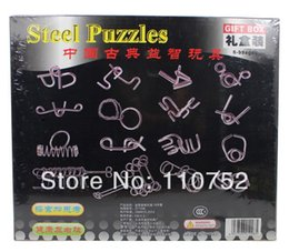 Wholesale Ring Solution - Wholesale-nine chain Ring solution Chinese steel puzzle intellectual deduction adult educational toys 16 pieces set gift box set belt
