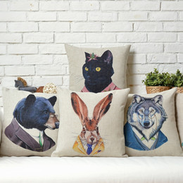 Wholesale black cat paintings - Hipster Chic Animal Bear Tiger Wolf Cat Rabbit Cushion Covers Hand Painting Animals Cushion Cover Sofa Decorative Linen Cotton Pillow Case