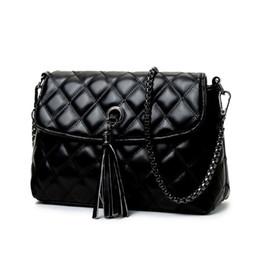 Wholesale messenger bag minimalist - Wholesale- Style Retro Minimalist Crossbody Bag Fashion Small Flap Women Shoulder Bag Tassel Women Messenger Bag With chains #14Me31 9-2