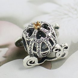 Wholesale Pandora Pumpkin Bead - 2015 New 925 Sterling Silver & 14K Real Gold Cinderella Pumpkin Charm Bead Fits European Pandora Jewelry Bracelets Necklaces & Pendants