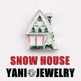 Wholesale Wholesale House Numbers - 20pcs lot Free shipping Christmas Gift Floating Christmas House Charms for Glass Locket DIY Accessories Charms