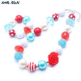Pulsera de flor azul online-MHS.SUN collar de perlas de color rojo + azul fornido conjunto de perlas de flores de moda niño niña Bubblegum collar de perlas grueso conjunto de joyas