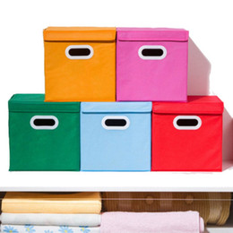 Wholesale Foldable Containers - Foldable Storage Boxes With Lid Linen Fabric Clothes Organizer Multi Colors Mould Proof Square Container Red Pink 5 5ly B R