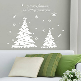 Wholesale Christmas Trees Wholesale For Decor - lastest new white red choose Merry Christmas Happy new year snowflakes trees 58*41cm living room home Wall Sticker Decor