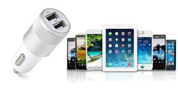 Wholesale Dual Car Port - Metal Dual USB Port Car Charger Universal 1A+2.1A for iPhone7 6s 6plus iPad6 air2 mini4 iPod Samsung Galaxy Motorola Nokia HUAWEI