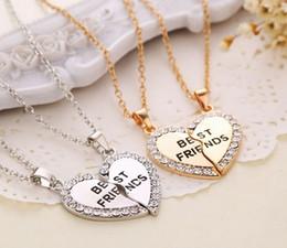 Wholesale Vintage Best Friend Necklaces - Wholesale 5set lot (Gold, Silver ) 2 Parts Crystal Broken Heart Best Friends Pendant Necklace Vintage Jewelry For Girls