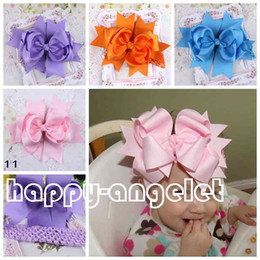 Wholesale Solid Grosgrain Ribbon Hair Bows - 12pcs 7.5-8inch Very large Grosgrain Bows ribbon Bowknot Stretch Headband for Infants to Big Girl Infant hairbow Girls Birthday Party GZ7429