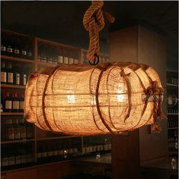 Wholesale Gunny Bags - European Creative Gunny Bag Pendant Light Hemp Rope Pendant Lamp Retro Style Restaurant Sitting Room Loft Pendant Lamp