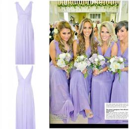 Wholesale Greek Party Dresses - 2017 New Fashion Sexy Floral V-Neck Greek Goddess Sheath Floor Length Lavender Chiffon Cheap Summer Beach Bridesmaid Party Dresses Cheap New