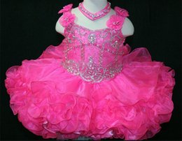 Wholesale Cute Little Girl Baby Images - Hot Pink Baby Pafeant Dress Little Rosie Spaghetti Straps Short Cute Flowers Toddler Party Dresses Beaded Ball Gown