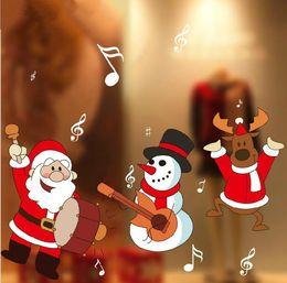 Autocollants rennes en Ligne-Fenêtre de Noël autocollants Snowflake Santa Rennes affichage de la fenêtre sans colle électrostatique Incognito Marry Noël Stickers muraux CS001