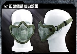 Wholesale Tmc Half Mesh Mask - Big Promotion Half Face Metal Mesh Mask Tactical TMC Airsoft Steel Wire Paintball Resistant Skull Tan Camo Protective Masks jy147
