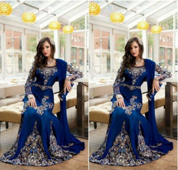 Wholesale Luxury Crystal Applique - 2016 Royal Blue Luxury Crystal Muslim Arabic Evening Dresses With Applique Lace Abaya Dubai Kaftan Long Plus Size Formal Evening Gowns