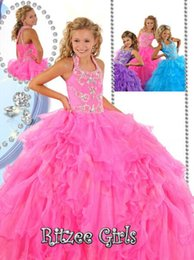 Wholesale Kids Proms Dress Pink - Halter Beads Ball Gown Kids Party Princess Prom Dresses Ruffled Organza Long Ritzee Girls Pageant Dress Flower Girls Dress Birthday gowns