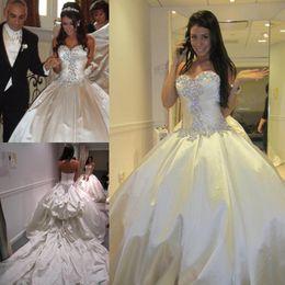 Wholesale Cathedral Train Taffeta Wedding Dress - Luxury Chapel Train Wedding Dresses Ball Gown Sweetheart Crystals Ruched 2016 Spring Bridal Gowns Taffeta Custom Made Wedding Gowns