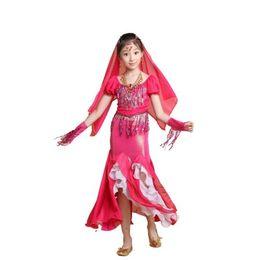 Wholesale Girls Belly Dance Skirt Costume - 2015 KIDS Girl Professional Belly Dance Costumes Prom Party Set 4PCS Veil&Top&Skirt&Gloves Children Prforming Dresses