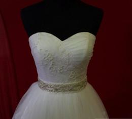 Wholesale Sparkle Belt Wedding Dress - 2015 Gorgeous sparkling Rhinestone beaded white long satin wedding dress belt wedding accessories bridal sashes belt for bride