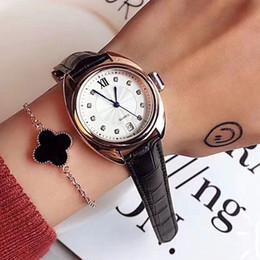 Fecha del reloj del rhinestone online-Vestido de marca Relojes femeninos Rhinestone de lujo 35 mm dial Correa de cuero diamante con fecha reloj de cuarzo para mujer niña regalo de San Valentín