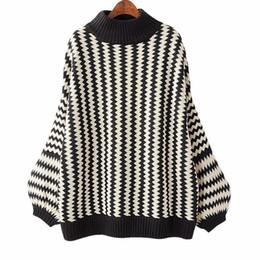 Wholesale Loose Neck Turtleneck - Winter Loose Striped Sweater For Women 2018 Autumn Casual Pullover Long Lantern Sleeve Half Turtleneck Top