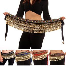 Wholesale Costume Belly Chains - Hand made Beautiful Belt Belly Dance Dancing Waist Chain Hip Scarf Danse Du Ventre Costume 4 Colors