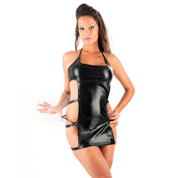 Wholesale Latex Suits For Free - Stylish Play Dress Suit Deluxe Sexy Black Faux Leather PVC Wet Look Latex Backless for Women Dress W7803