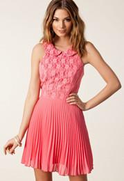 Wholesale Dress Pans - Girl 2014 Pink Flower Lace Peter Pan Collar Pleated Chiffon Evening Mini Dress LC21482 vestidos causal summer women dresses FG1511