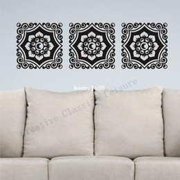 Wholesale Floral Wall Decals - Free shipping Floral Damask Wall Decal Motif Trio, Vinyl graphic damask Wall Art Sticker Home Decoration