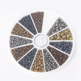 Wholesale Spacer Flat - hot - 2&3&4mm Mixed Metal Colors Glass Seed Beads Kit Loose Spacer Beads For DIY Jewelry Making approx 600 pcs set, BDH063-01MX