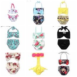 Wholesale Toddler Girl Wearing Swimsuit - Floral Baby And Toddler Girls Bikinis High Waisted Swimsuits 2pcs Set Fashion IG Style Bathing Clothes Kids Beach Wear
