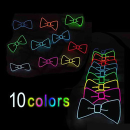 Wholesale Glow Tie - Multi Color Luminous Light Up LED Bow Tie Glowing EL Wire Bow Tie For DJ Bar Club and Evening Party Decoration