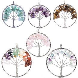 Wholesale Metal Tree Charms Pendants - Tree of Life Keychain Natural Crystal Stone Handmade DIY Keychain Charm Pendant Fashion Metal Accessory D88S