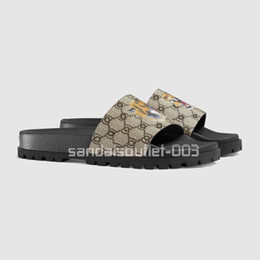 printed heels UK - 2017 new arrival mens fashion brand causal Trek slide sandals flip flops with printed tiger and Moulded rubber footbed