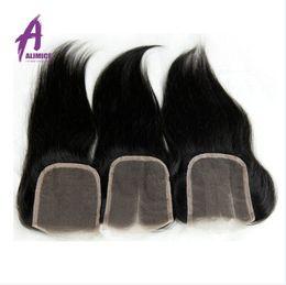 Wholesale Cheap Virgin Brazilian Hair Closures - 7A Cheap Peruvian Lace Closure Bleached Knots Virgin Human Hair 4*4 Straight Lace Closure Free Middle 3 Part CLosure