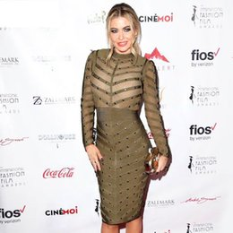 Wholesale Studded Sexy - Free Shipping Hot New Fashion 2016 Sexy Olive Green Women See Through Bodycon Studded Bandage and Long Sleeve Mesh Dress