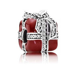 Wholesale Box Fit European Beads - Pure 925 Sterling Silver Red Enamel Gift Box Bead Fits European Jewelry Charm Bracelets Necklace Xmas Gifts LH