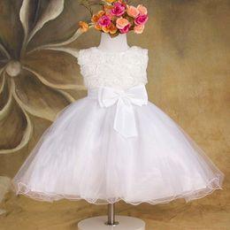 Wholesale Rose Tutu Gauze Dress - Rose Flower Flower Girl Dress Sleeveless Big Bowknot Gauze Children Wedding Princess Dresses 3 Colour In Stock Kids Pageant Dress WD472