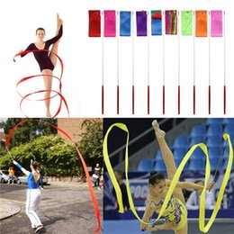 Wholesale Dance Rod - New 4M Gymnastics Colored Ribbon Gym Rhythmic Art Ballet Dance Ribbon Streamer Twirling Rod Stick Multi Colors Free Shipping