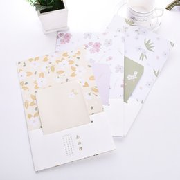 Wholesale Korean Stationery Paper Envelopes - Wholesale- 9pcs Set 3 envelopes + 6 sheets letter paper Blooming Cherry Blossoms Series Envelope For Gift Korean Stationery